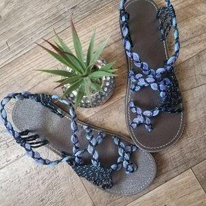 Shoes - BLUE,PURPLE AND BLACK SANDALS